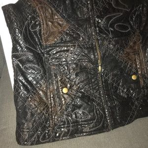 Chico's Jackets & Coats - Chico's small black brown embroidered zip vest 1